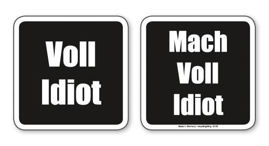 Witzige Bierdeckel Mit Spruch Voll Idiot 8 Stuck