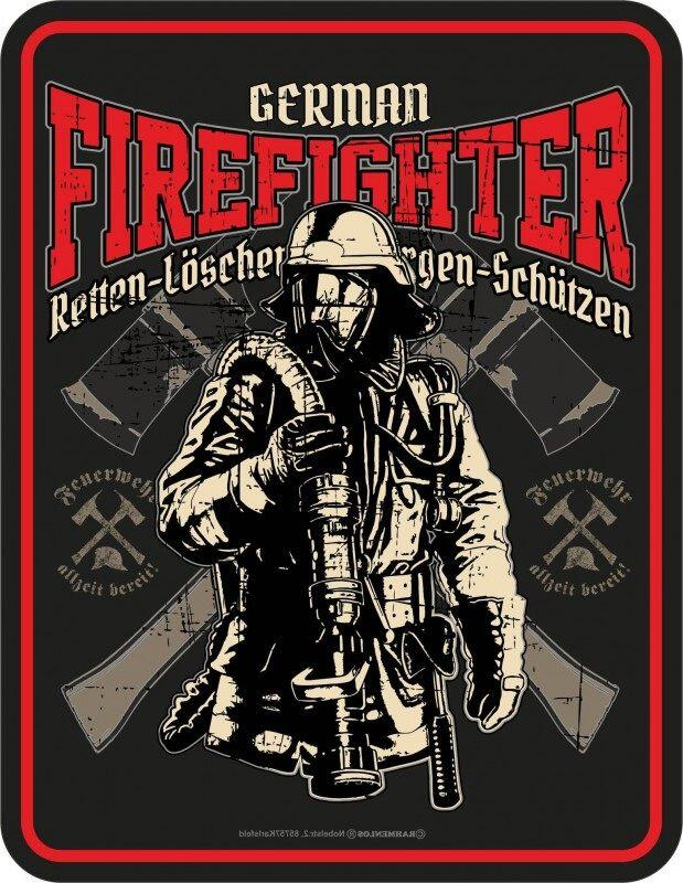 Blechschild GERMAN FIREFIGHTER