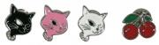 "Pin Anstecker Set ""Kitty und Cherry"" Anstecker-Set 4 Stück Rockabilly Cat und Cherry, trendiges Accessoires Modeschmuck"