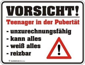 Blechschild TEENAGER in der Pubertät