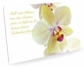 Frühstücksbrettchen Orchideen mit Zitat, Schneidebrett