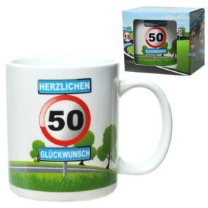 Tasse 50 Jahre Kaffebecher 50 Geburtstag Verkehrsschild Huslage24