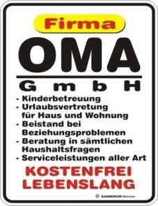 Blechschild Firma Oma Gmbh Grossmutter Spruch Schild Blech