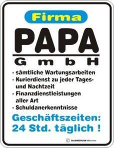 Blechschild Firma Papa GmbH Vater Spruch Schild Blech ...