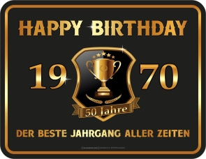 Blechschild Happy Birthday 1970