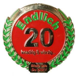 Orden Medaille Endlich 20 Geburtstag Geschenk Huslage24