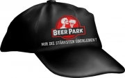 """Caps Fun """"BEER PARK NUR DIE STÄRKSTEN ÜBERLEBEN!"""", Basecap bestickt schwarz, Cap größenverstellbar"""