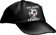 """Caps Fun """"MEIN FREUND IST AUS LEDER!"""", Basecap Cap bestickt schwarz, größenverstellbar"""