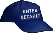 """Caps Fun """"UNTER BEZAHLT"""", Basecap Cap bestickt blau, größenverstellbar"""