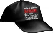 """Caps Fun """"Meine 4 grössten Krisen"""", Basecap Cap bestickt schwarz, größenverstellbar"""