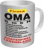 Tasse mit Fun Spruch: Firma OMA GmbH..witzige Kaffeetasse / Becher im Geschenkkarton, Kaffepott für die liebe Oma / Großmutter