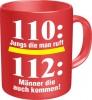Tasse mit Fun Spruch: 110: Jungs die man ruft, 112: Männer die auch kommen.. witzige Kaffeetasse / Becher im Geschenkkarton, Kaffeepott für die Feuerwehr