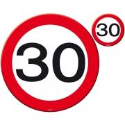 """Platzset Platzmatten und Untersetzer """"30"""", 8-teiliges Tischset rund zur Deko zum 30. Geburtstag"""