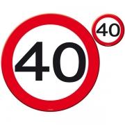 """Platzset Platzmatten und Untersetzer """"40"""", 8-teiliges Tischset rund zur Deko zum 40. Geburtstag"""