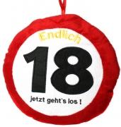 Kissen ENDLICH 18 JETZT GEHT′S LOS zum 18. Geburtstag Kuschelkissen Plüsch rund