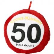 Kissen TROST-KISSEN 50 HEUL DOCH zum 50. Geburtstag Kuschelkissen rund Plüsch