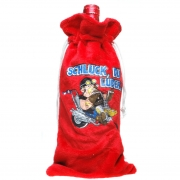 """Flaschenbeutel """"Schluck, Du Luder..."""", Geschenktasche / Beutel Plüsch für Flaschen, Flaschentüte für den Motorrad-Fan"""