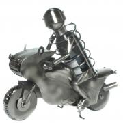 Flaschenhalter Motorradfahrer aus Metall Flaschenständer Motorrad Biker Geschenk