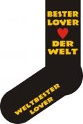 """Socken FUN """"BESTER LOVER DER WELT"""", Strümpfe mit witzigem Spruch, Fun Sox"""