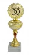 Pokal Auszeichnung ENDLICH 20, Geschenkpokal Geburtstag Geschenk Ehrung