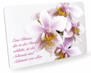 Frühstücksbrettchen Orchideen mit Zitat, Schneidebrett Brettchen Orchideen mit Spruch
