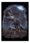 Flagge Grave Metal - Skelett mit Gitarre