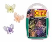 Clips für Orchideen, 6 Stück im Blisterpack, Schmetterling gemischt bunt