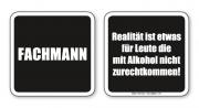 witzige Bierdeckel mit Spruch: Fachmann,... 8 Stück, Untersetzer aus Vollpappe bedruckt mit Fun - Spruch