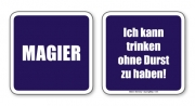 witzige Bierdeckel mit Spruch: Magier ... 8 Stück, Untersetzer aus Vollpappe bedruckt mit Fun - Spruch