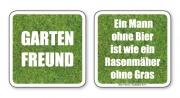 witzige Bierdeckel mit Spruch: Gartenfreund ... 8 Stück, Untersetzer aus Vollpappe bedruckt mit Fun - Spruch