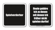 witzige Bierdeckel mit Spruch: Spielverderber ... 8 Stück, Untersetzer aus Vollpappe bedruckt mit Fun - Spruch