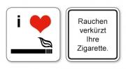 witzige Bierdeckel mit Spruch: Rauchen verkürzt Ihre Zigarette ... 8 Stück, Untersetzer aus Vollpappe bedruckt mit Fun - Spruch