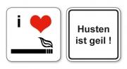 witzige Bierdeckel mit Spruch: Husten ist geil, 8 Stück, Untersetzer aus Vollpappe bedruckt mit Fun - Spruch