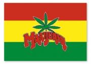 Flagge Marijuana, Fahne in Rasta - Farben, mit Cannabisblatt / Hanf