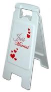 Partyschild Just Married, Flurschild Aufsteller Tafel zur Hochzeit