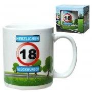 Tasse 18 Jahre Kaffebecher 18. Geburtstag Verkehrsschild