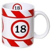 Tasse 18 Jahre Kaffebecher 18. Geburtstag rot weiß Warnband