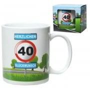 Tasse 40 Jahre Kaffebecher 40 Geburtstag Verkehrsschild