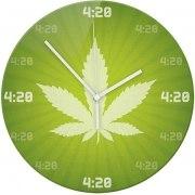 Wanduhr mit Motiv Hanf 420 grün