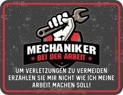Blechschild MECHANIKER BEI DER ARBEIT Werkstatt Auto