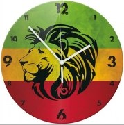 Wanduhr mit Motiv Rasta Lion rastafarben Hanf