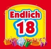 Aufkleber ENDLICH 18 ! Etikett Sektflasche Flasche selbstklebend 18. Geburtstag
