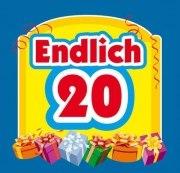 Aufkleber ENDLICH 20 ! Etikett Sektflasche Flasche selbstklebend 18. Geburtstag