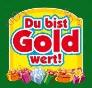 Aufkleber DU BIST GOLD WERT ! Etikett Sektflasche Flasche selbstklebend Geschenk