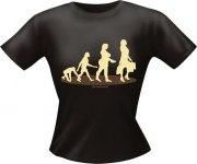 T-Shirt Lady Girlie EVOLUTION FRAU PARTY Shirt Spruch witzig Fun