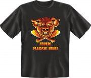Fun Shirt FEUER FLEISCH BIER Grill grillen T-Shirt Spruch