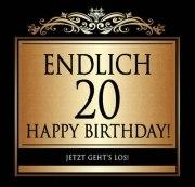 Aufkleber ENDLICH 20 ! Etikett Sektflasche Flasche selbstklebend 20. Geburtstag