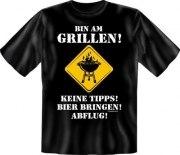 Fun Shirt BIN AM GRILLEN BIER BRINGEN Grillen Grill T-Shirt