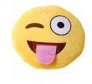 Kissen smile face Gesicht gelb Zunge Kuschelkissen Plüsch