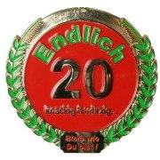 Orden Medaille Endlich 20 Geburtstag Geschenk